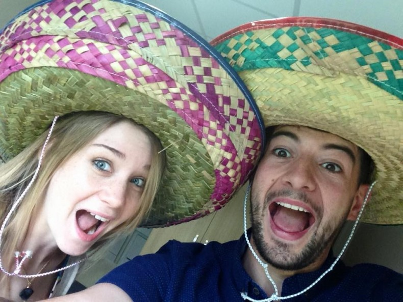 Lillian with her fiancee wearing Sombrero's ready for their honeymoon in Mexico