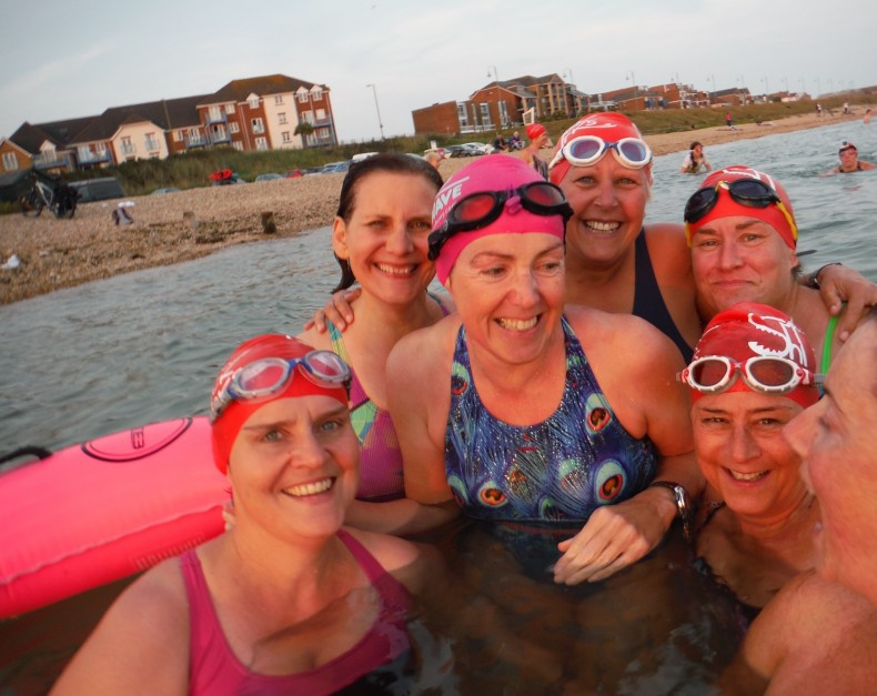 Deborah with her swim group 'The Shack Sharks'