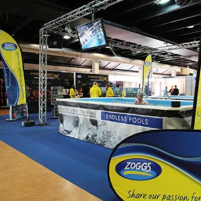 "Zoggs sponsor the ""Swim Zone"" at the 220 Triathlon Show 2015"