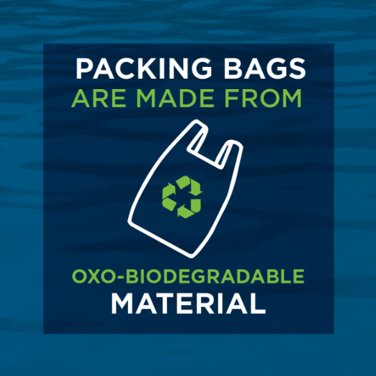 packing bags are made from oxo-biodegredable material