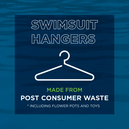 swimsuit hangers made from post consumer waste