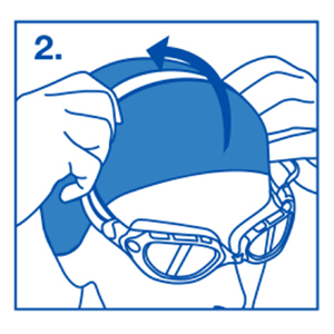 Person fitting strap of the goggle over the back of the head