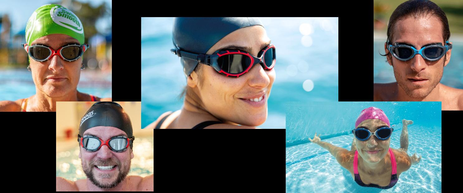 Swimmers wearing Predator Goggles