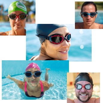 Swimmers wearing Predator Goggles